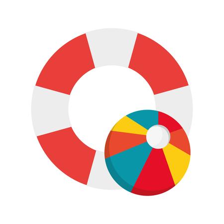flat design life preserver and beach ball icon vector illustration