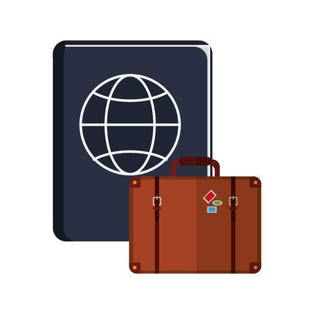 emigration: flat design passport and suitcase  icon vector illustration Illustration