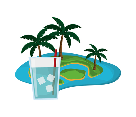 flat design tropical island and glass of water icon vector illustration Illustration