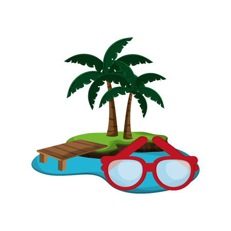 flat design tropical island and glasses  icon vector illustration
