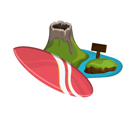 volcanic: flat design volcanic tropical island and surfboard  icon vector illustration Illustration