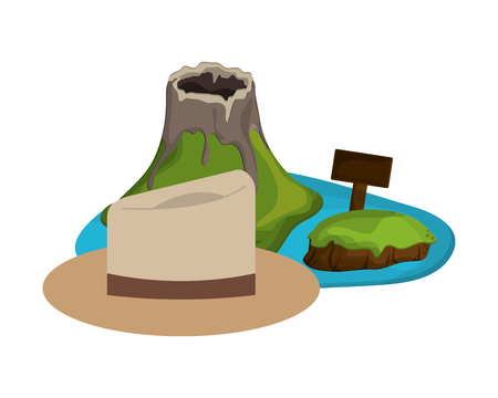 flat design volcanic tropical island and hat  icon vector illustration