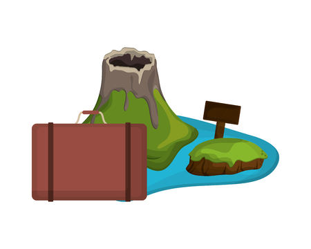 volcanic: flat design volcanic tropical island and suitcase  icon vector illustration