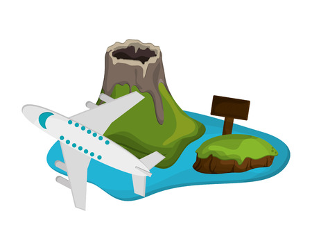 volcanic: flat design volcanic tropical island and airplane  icon vector illustration