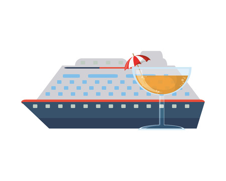 wandering: flat design cruise ship and cocktail  icon vector illustration