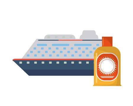 sun block: flat design cruise ship and sun block icon vector illustration Illustration