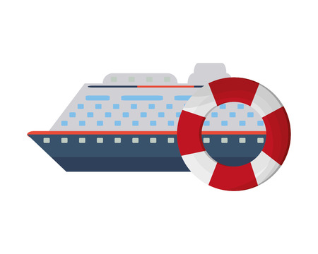 preserver: flat design cruise ship and life preserver  icon vector illustration