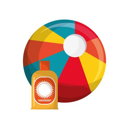 sun block: flat design beach ball and sun block icon vector illustration