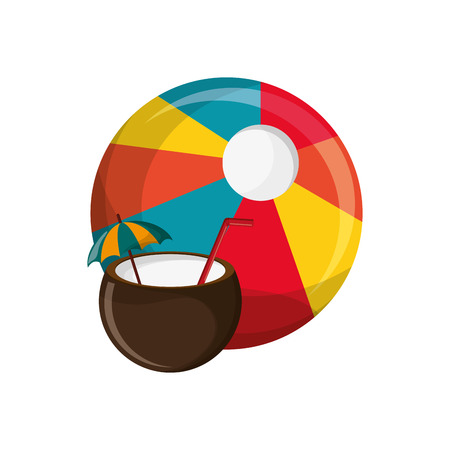 flat design beach ball and coconut cocktail icon vector illustration Illustration