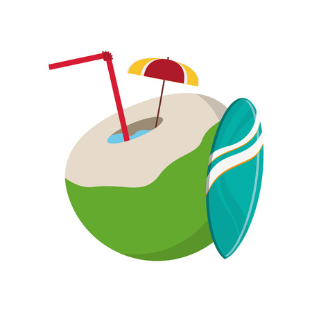 flat design coconut cocktail and surfboard  icon vector illustration