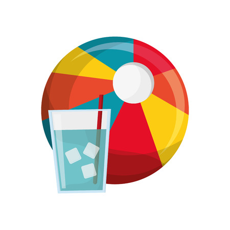 flat design beach ball and glass of water icon vector illustration