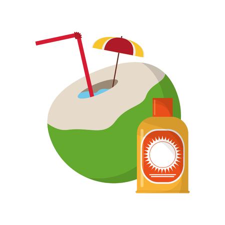 sun block: flat design coconut cocktail and sun block icon vector illustration