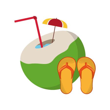 flat design coconut cocktail and sandals  icon vector illustration Illustration