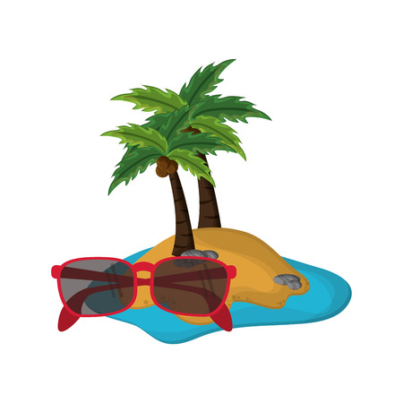 flat design tropical island and sunglasses  icon vector illustration