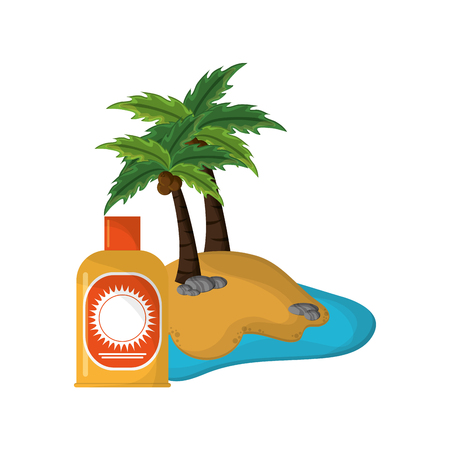 sun block: flat design tropical island and sun block icon vector illustration Illustration