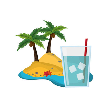 palmtree: flat design tropical island and glass of water icon vector illustration Illustration