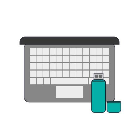 usb drive: flat design computer and usb drive icon vector illustration