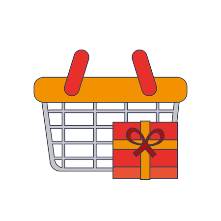 gripping: flat design shopping basket and giftbox  icon vector illustration