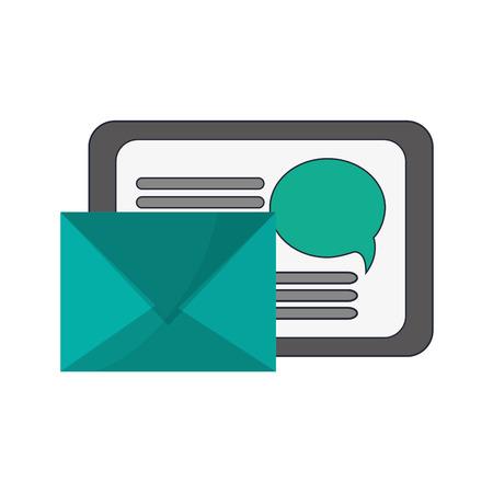 palmtop: flat design tablet and envelope  icon vector illustration Illustration
