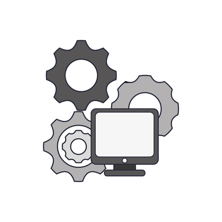 flat design gears and computer icon vector illustration