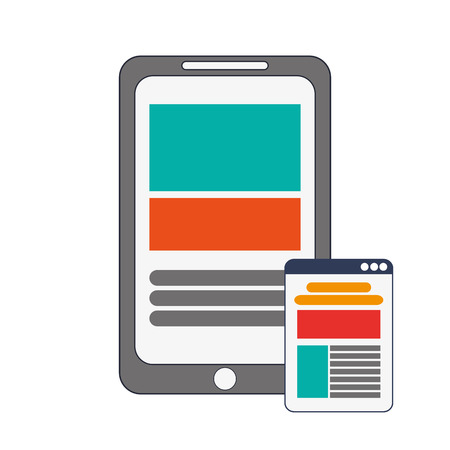 webpage: flat design modern cellphone and webpage  icon vector illustration