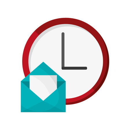 flat design wall clock and envelope  icon vector illustration