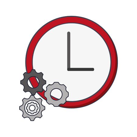 flat design wall clock and gears  icon vector illustration Illustration