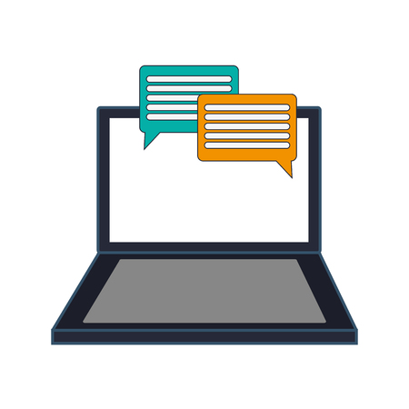 conversation bubble: flat design computer and conversation bubble icon vector illustration Illustration