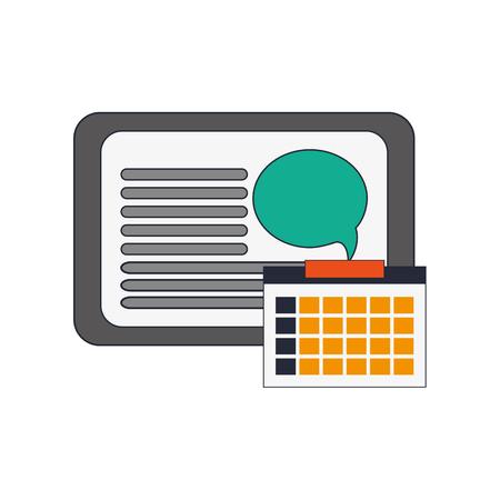 palmtop: flat design tablet and calendar  icon vector illustration