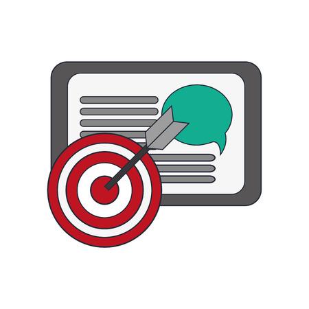 palmtop: flat design tablet and bullseye  icon vector illustration