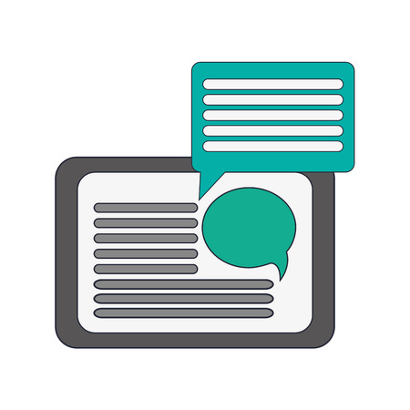 palmtop: flat design tablet and  conversation bubble icon vector illustration
