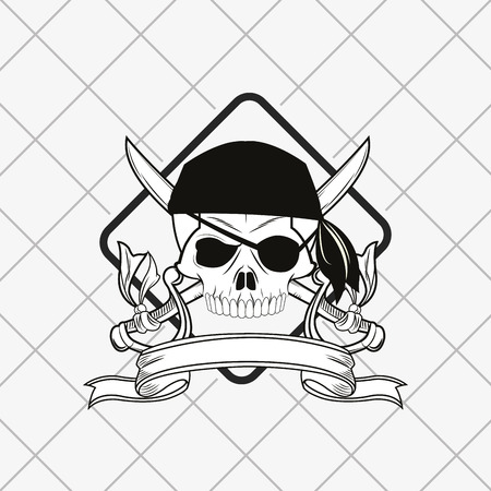sapiens: pirate skull emblem image vector illustration design