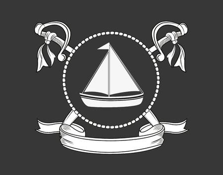 wave tourist: sail boat emblem image vector illustration design
