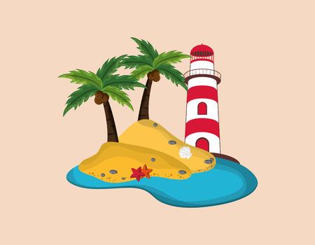 lighthouse with tropical island emblem image vector illustration nautical design