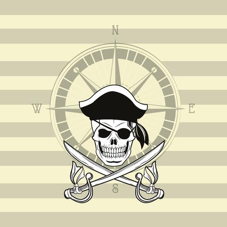 pirate skull emblem image vector illustration design