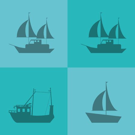 brigantine: flat design ship or boat emblem image vector illustration