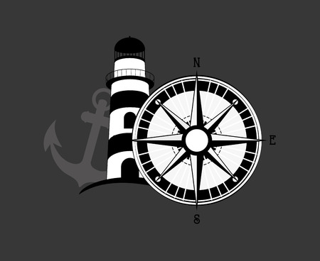 global positioning system: flat design compass nautical emblem image vector illustration