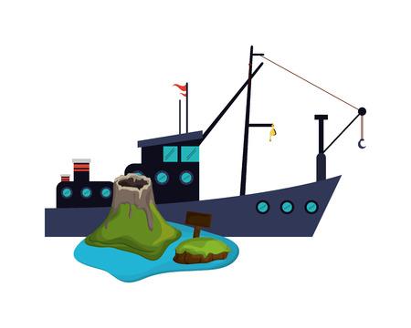 hull: flat design fishing boat and volcano island  icon vector illustration