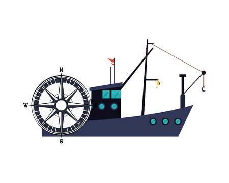 commercial fishing: flat design fishing boat and compass  icon vector illustration