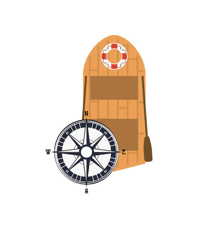recess: flat design rowing boat and compass  icon vector illustration