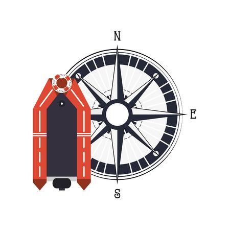 salvavidas: plana bote salvavidas diseño y la brújula icono de la ilustración del vector Vectores
