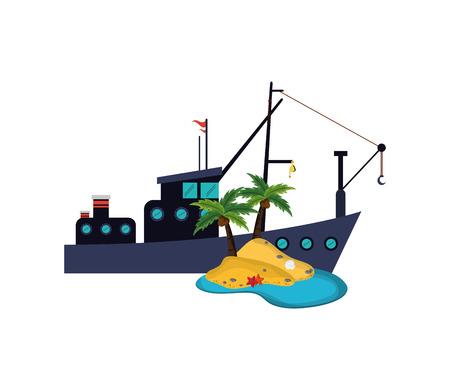 hull: flat design fishing boat and island  icon vector illustration Illustration