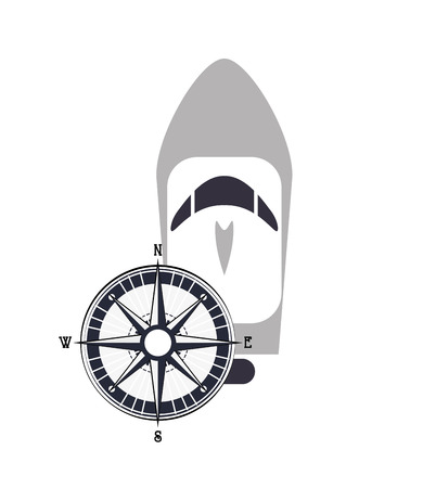 boarded: flat design motor boat and compass  icon vector illustration