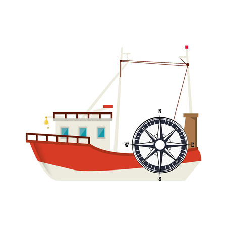 flat design fishing boat and compass icon vector illustration