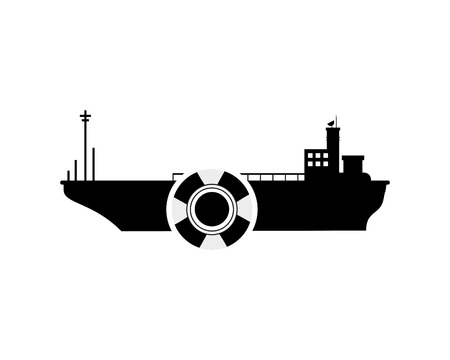 preserver: flat design cargo ship and  life preserver icon vector illustration