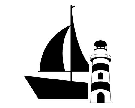 wave tourist: flat design sail boat and lighthouse  icon vector illustration Illustration
