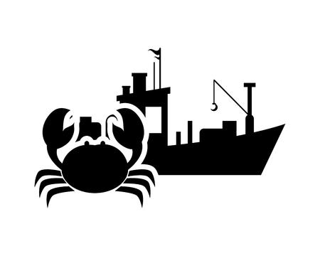 hull: flat design fishing boat and crab  icon vector illustration