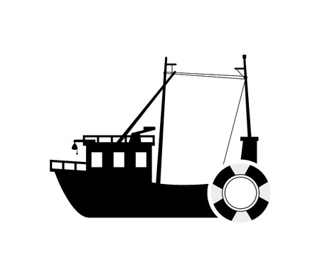 hull: flat design fishing boat and  life preserver icon vector illustration