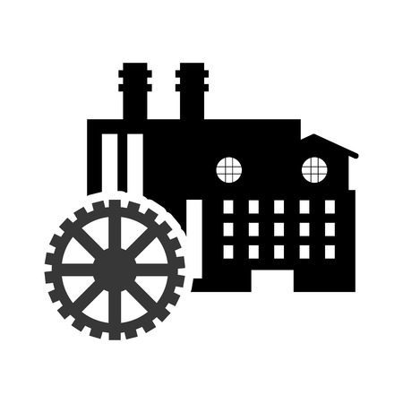 precautions: flat design factory and gear  icon vector illustration Illustration