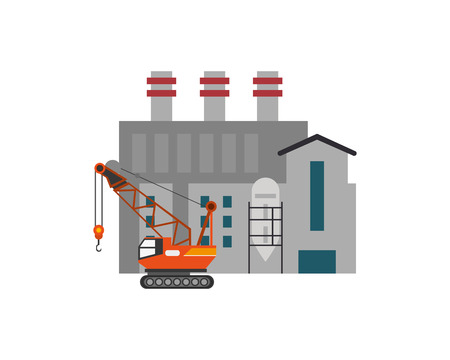 detection: flat design factory and  mobile crane  icon vector illustration